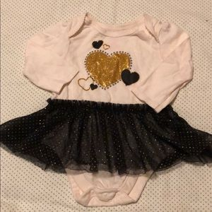 Black and Gold Heart Bodysuit
